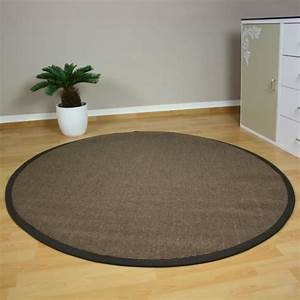 tapis rond en bambou brun 150 cm achat vente tapis With tapis rond 150 cm