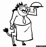 Waiter Warthog Coloring Pages Drawing Animal Stew Getdrawings Activities Tgif sketch template