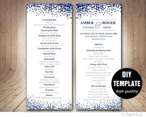 modern wedding program templates modern wedding program template navy blue program template blue wedding program sided