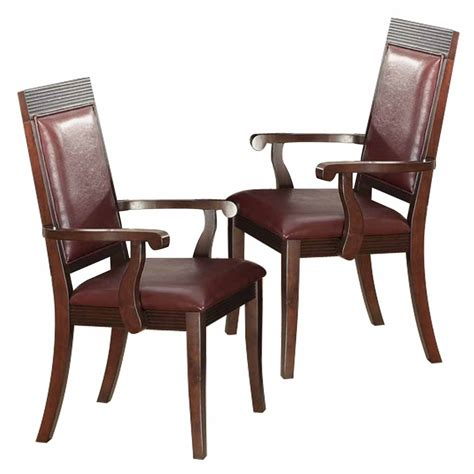 transitional set of 2 dining arm chairs brown wood