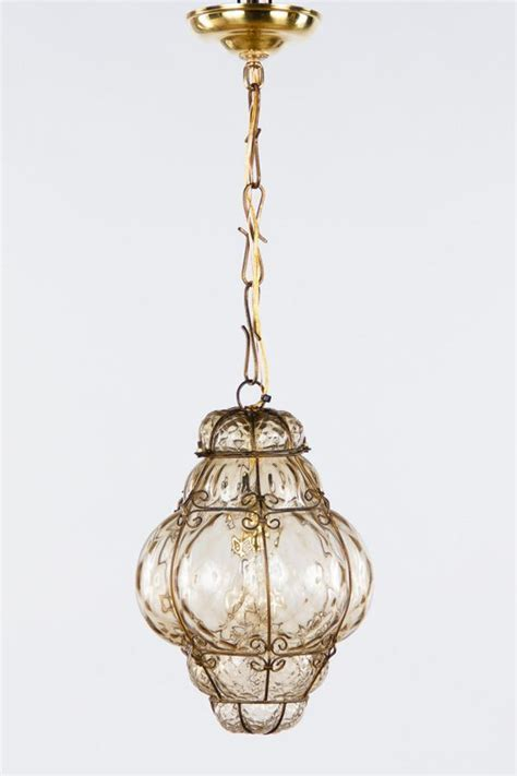 A 1940's Murano wire cage Lantern with hand blown bubble