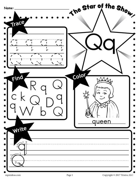 free letter q worksheet tracing coloring writing amp more 507 | Q Star 20of 20the 20show 20Letter 20worksheet 1024x1024