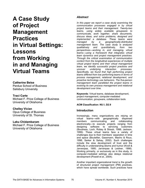 case study  project management practices