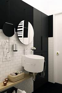 Tiny apartment in black and white charms with space saving for Bathroom porm