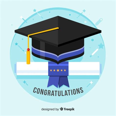 graduation cap and diploma with flat design vector free download