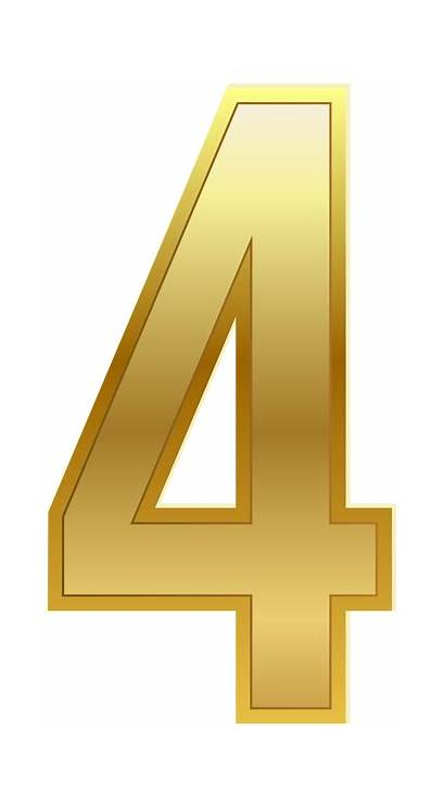 Number Clip Four Gold Classic Clipart Numbers