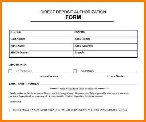 bank letter for direct deposit direct deposit authorization form exles staruptalent