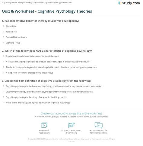 quiz worksheet cognitive psychology theories studycom
