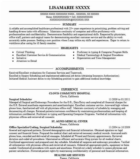 surgery scheduler resume sle surgical scheduler resume sle bestsellerbookdb