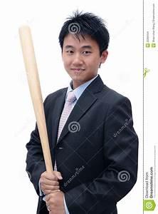 Asian Business Man Holding Baseball Bat Stock Images