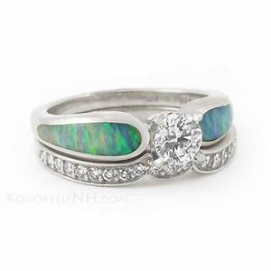 quotmoonlit sea radiancequot 5ct diamond and opal engagement ring With opal and diamond wedding rings