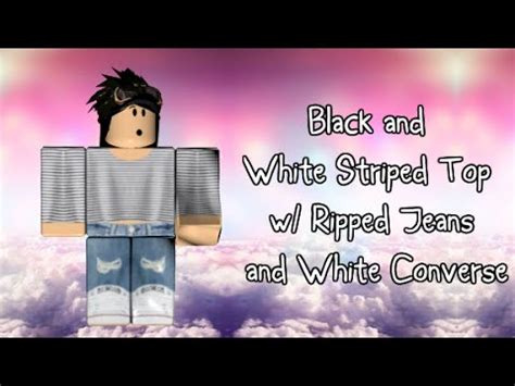 roblox speed design black white striped top  ripped