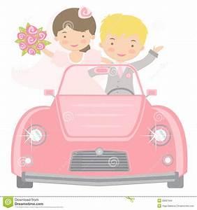 Cute Bride And Groom Driving To Honeymoon Stock Vector ...