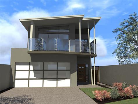 Modern Narrow Block House Designs Wood Fence Small Garden