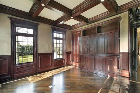 Library With Cherry Wood Paneled Walls Stock Image