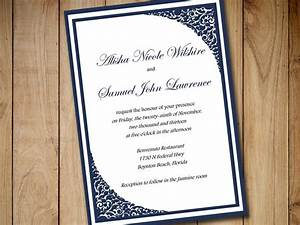 printable wedding invitation template download dark navy With navy evening wedding invitations
