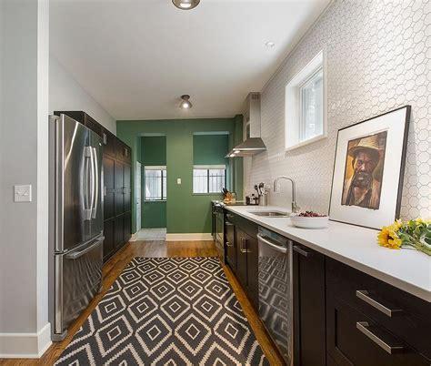 white hex tile backsplash eclectic kitchen benjamin