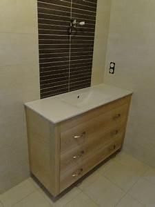 Meuble Salle De Bain Moderne : meuble salle de bain bois moderne ebenisterie brettes ~ Nature-et-papiers.com Idées de Décoration