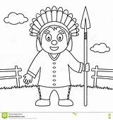 Spear Thanksgiving Native Coloring sketch template