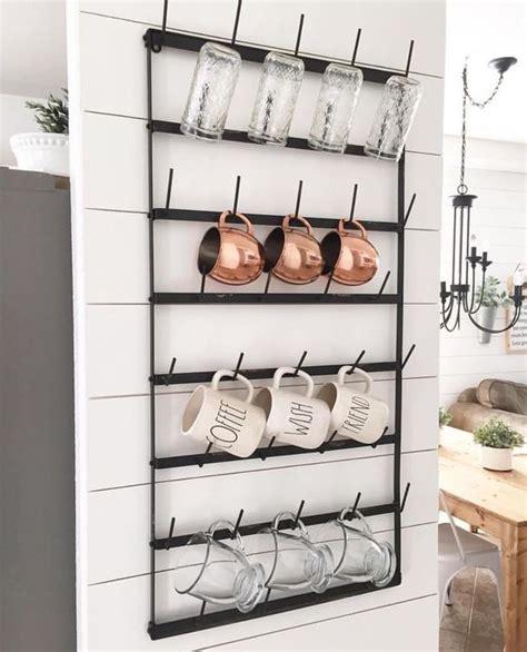 wall cup rack 20 farmhouse kitchen storage ideas hative