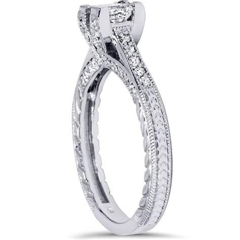 1ct princess cut vintage engagement ring 14k white 1ct princess cut vintage engagement ring accent 14k white gold ebay