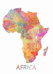 Africa Watercolor Map Digital Art by Justyna JBJart