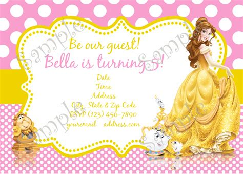 belle invitation belle party belle birthday party