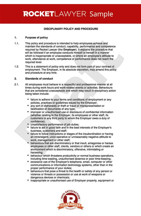 procedure document disciplinary procedure create a disciplinary policy