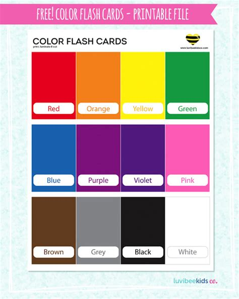 Color Flash Cards  Free Printable