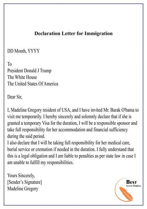 declaration letter template format sample