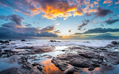 clouds coast hawaii rock reflection nature landscape