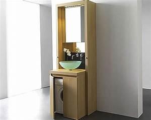 un meuble bain astucieux pour cacher le lave linge With meuble salle de bain integrant machine a laver