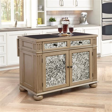 Home Styles Visions Silver & Gold Champagne Kitchen Island