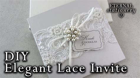 elegant beaded lace and brooch wedding invitation diy