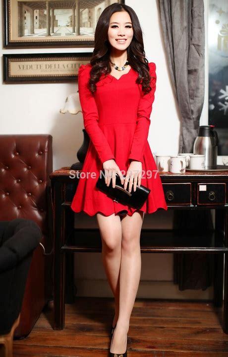 Vestido rojo corto manga larga