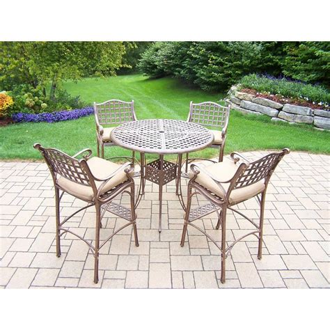 oakland living elite cast aluminum 5 piece patio bar
