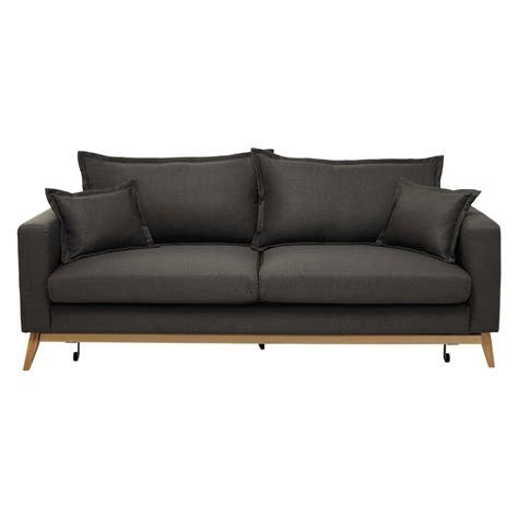 canapé tissu maison du monde canapé convertible 3 places en tissu brun grisé duke