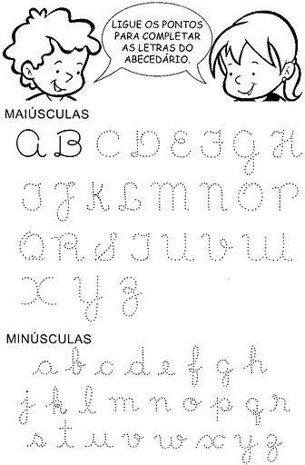 atividades escolares trabalho o alfabeto letra cursiva escrita de palavras