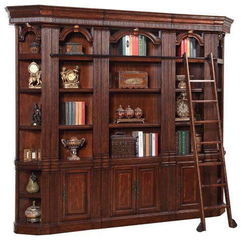 library wall units bookcase 5 piece wellington library bookcase wall unit mahogany