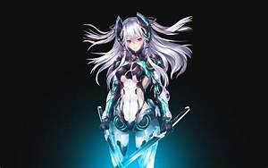 Anime 1920x1200 mecha girls anime girls silver hair sword ...