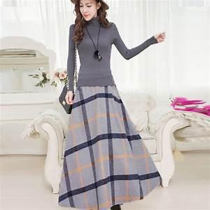 Winter Long Skirt Women Vintage Thick Plaid Wool Skirts High Waist Big Swing Fashion Maxi Skirt ...