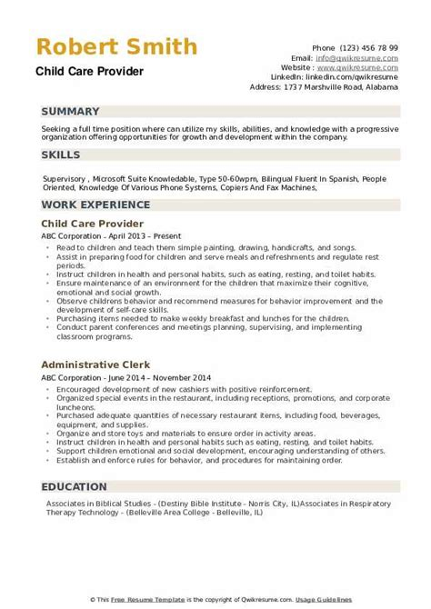 Child Care Provider Resume by Child Care Provider Resume Sles Qwikresume