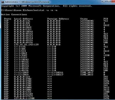 netstat   listening ports  pid  windows