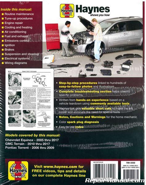 car service manuals pdf 2008 chevrolet equinox head up display chevrolet equinox gmc terrain pontiac torrent 2005 2017 haynes repair manual