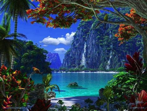 waterfalls and beach lagoon paradise tropical paradise