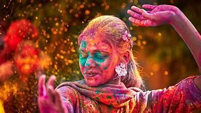 Holi India Festival Indian Woman Diversity Dancing