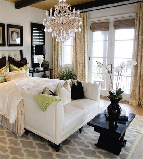 beautiful bedroom with chandelier