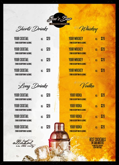 drink menu template cocktail menu template 23 free premium
