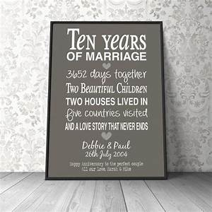 10th wedding anniversary gift personalised anniversary With 10th wedding anniversary gifts