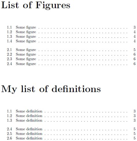table of contents definition table of contents formatting new list of definitions